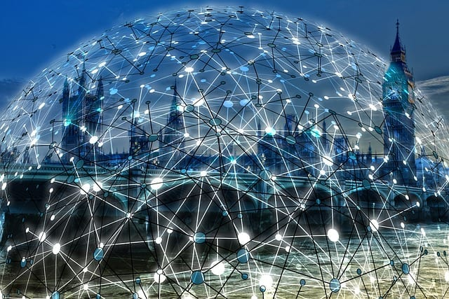 Image of a network connected globe with london backdrop