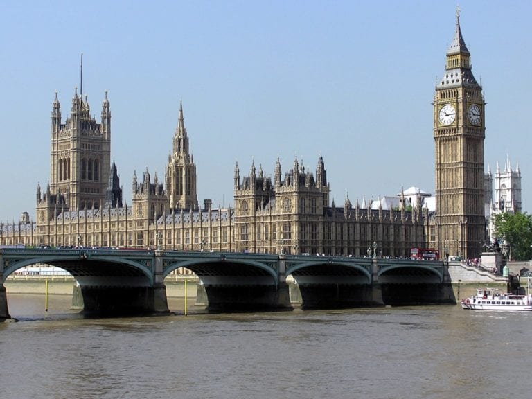 Photograph of the landscape of westminster showing big ben and parliament buildings