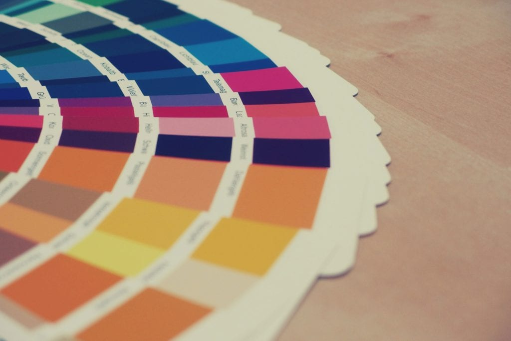 Photograph of colour swatches used in design
