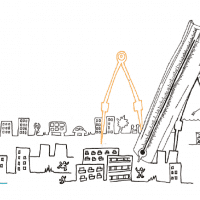 Illustration of city with giant measurement tools