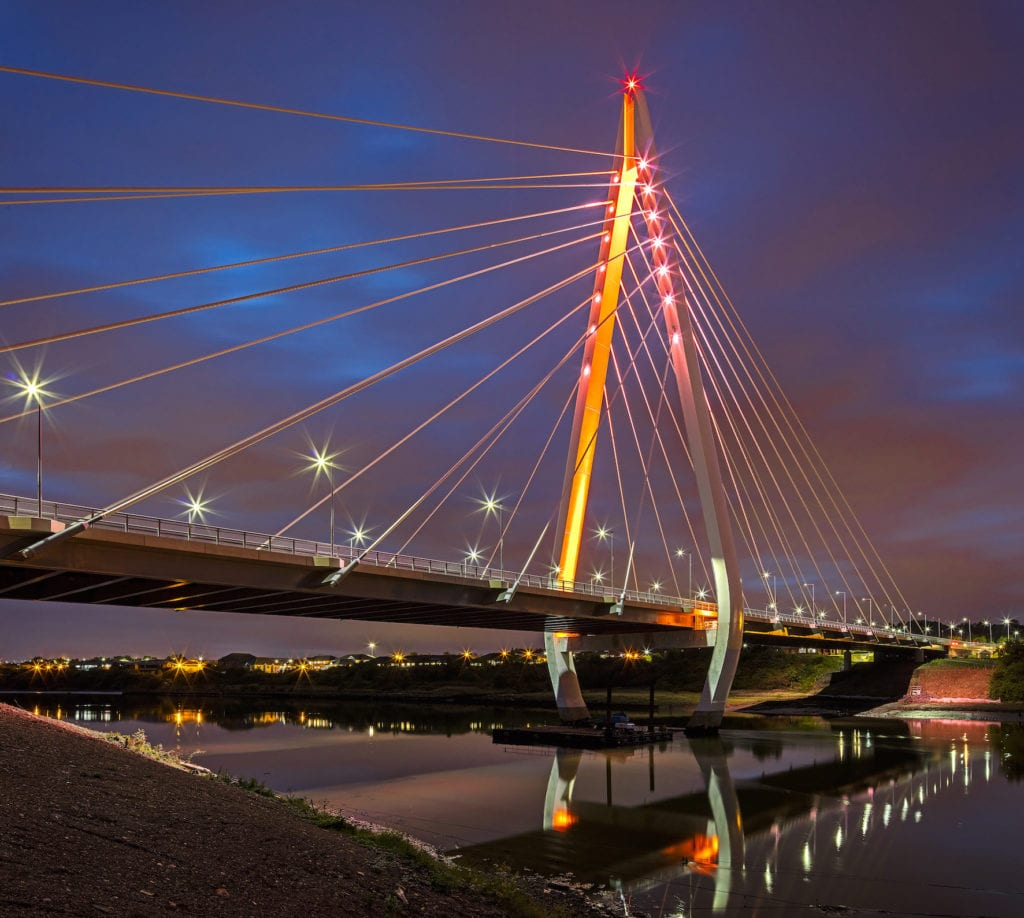 photograph of northern spire bridge at night